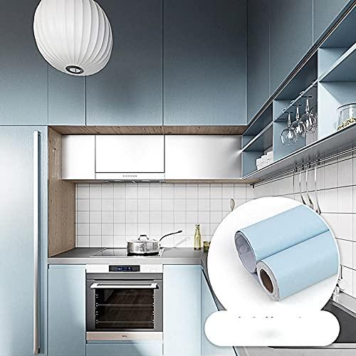 Papel Adhesivo para Muebles Vinilos Adhesivo para Muebles Puertas Impermeable Vinilo Pegatina para Muebles Decorativos Rollo Papel Pintado PVC de Cocina Armario azul60 CM X 500CM