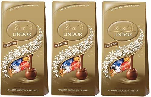 リンツ リンドール アソート チョコレート 600グラム ダーク,ミルク,ホワイトの4種類アソート Lindt LINDOR ASSORTED CHOCOLATE 600g DARK,WHITE,MILK (3個セット) [並行輸入品]
