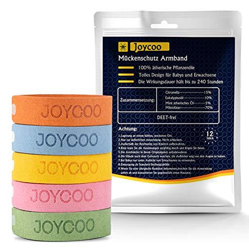 Joycoo Mückenschutz Armband 12er-Pack Insektenschutz-Armband 100{87cf666f675c8477e51d9b9ca65852541d0ca219d920e3697748b09265b59aa2} natürlich, Deef-Frei, für Reisen, ungiftiges, sicheres Armband für Kinder, Erwachsene und Haustiere während des Campings