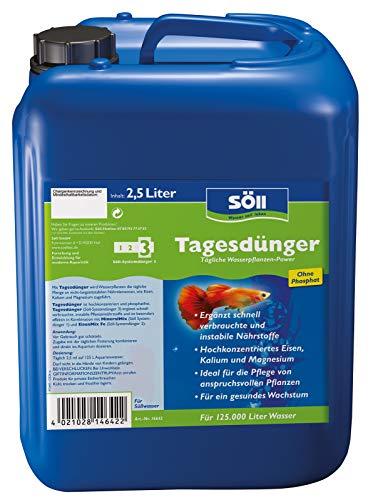 Söll 14642 Tagesdünger Aqua 2,5 l für 125.000 l Wasser - hochkonzentrierter phosphatfreier Universaldünger mit Mineralien und Spurenelementen für Wasserpflanzen im Aquarium
