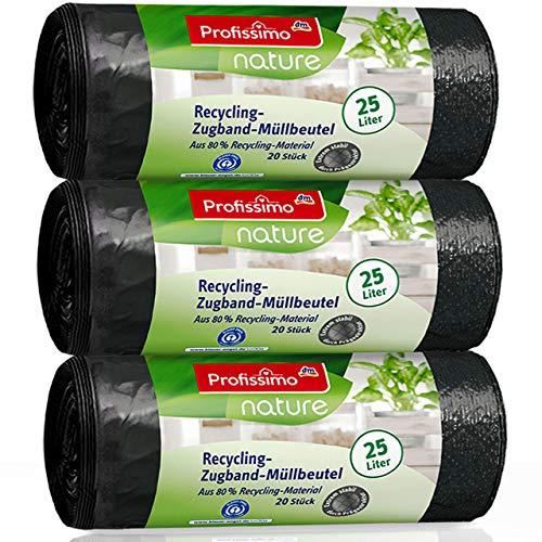 """Nature Recycling Zugband Müllbeutel - 25 Liter (60 Stück) - aus 80% Recycling Material - 3er Pack (3x20 Stück) -""""Blauer Engel"""" Zertifikat"""