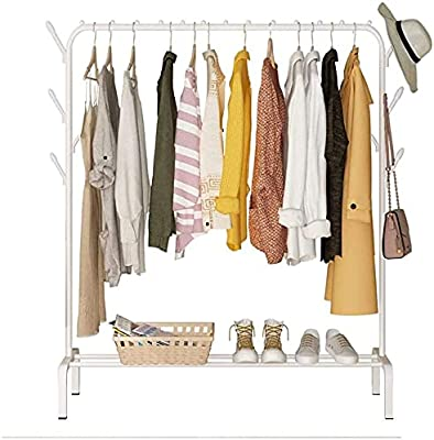 Lukzer 1PC Multipurpose Metal Garment Rack with Top Rod and Lower Storage Shelf with Hooks Heavy Duty Clothes Coat Stand Closet Organizer (White / 150 x 110 x 40 cm)