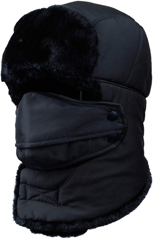 67893bd7a18de4 Trooper Trapper hat Winter Windproof ski ski ski hat with Ear Flaps and  mask Warm Hunting Hats for Men Women-Black 4a36e9