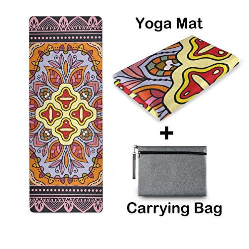 UMIRIKO Esterilla de yoga de viaje, esterilla de yoga, antideslizante, plegable, ligera, pilates, fitness, ejercicio, con bolsa de transporte, para mujer, mandala, flores, 2020490
