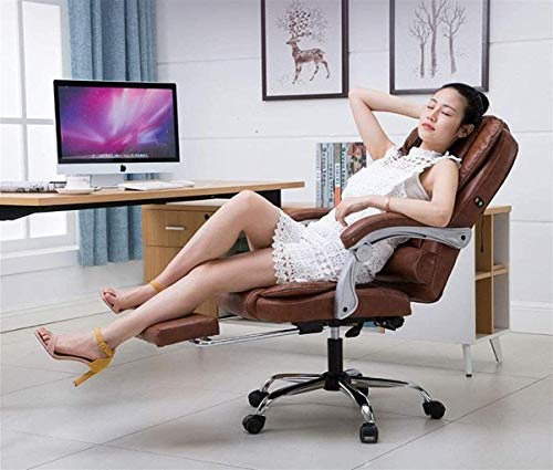 PANGPANGDEDIAN Sedia da Ufficio Sedia da Ufficio Sedia da Massaggio PU in Pelle PU High Back Executive Ergonomico Sedia da Ufficio Vibrante Regolabile Poltrona (Color : Brown)