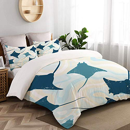 VORMOR 3 Pc Bedding Set Top View Manta Rays Water Seamless Decorative Duvet Cover Set With 2 Pillowcases Double Size (200x200cm)