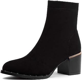 Shukun enkellaarsjes herfst en winter enkele laarzen puntige klinknagel groot formaat mat dik met Martin laarzen hoge hak ...