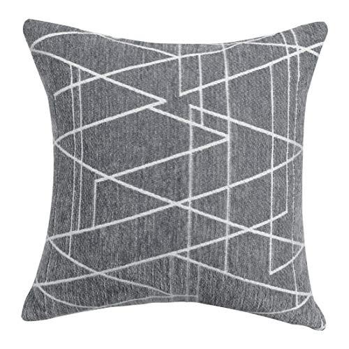 uxcell Funda de almohada decorativa tejida con textura de chenilla, moderna, cuadrada, suave, para dormitorio, sofá, coche, gris oscuro y marrón, 45,7 x 45,7 cm