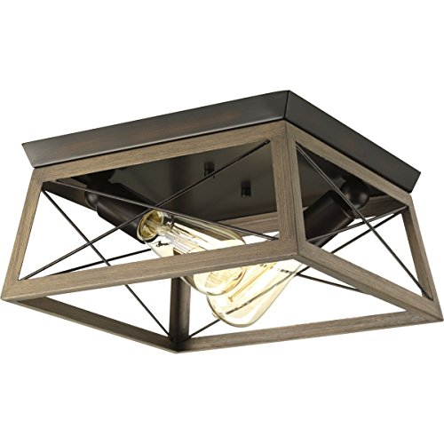 Progress Lighting P350039-020 Briarwood Antique Bronze Two-Light Flush Mount