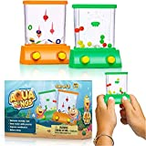 Handheld Water Toy Arcade Mini Water Ring Game Water Handheld Games for Beach Toys Party Retro Pastime for Kids and Adults (2 Packs)