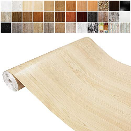 DecoMeister Klebefolien in Holz-Optik Holzfolien Deko-Folien Holzdekor Selbstklebefolie Möbelfolie Selbstklebend Holz-Maserung 45x100 cm Ahorn
