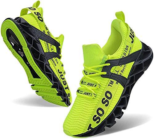 JSLEAP Herren Sneaker Laufschuhe Damen Sportschuhe Straßenlaufschuhe Sneaker Joggingschuhe Turnschuhe Walkingschuhe Fitness Schuhe (2 Leuchtendes Grün,Größe 45 EU/275 CN)