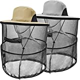Mosquito Head Net Hat Sun Hats with Removable Net Mesh Mask (2 Pack,Khaki and Light Gray)