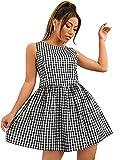 SheIn женское летнее платье с круглым вырезом без рукавов в клетку с рюшами и рюшами, короткое платье в клетку черного цвета среднего размера