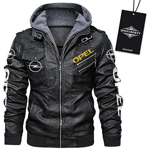 xiaosu Faux Leder Bomber Jacke O.p-El Drucken Mit Herausnehmbar Kapuze Windbreaker Herren & Damen Moto Racing Coats Sport/Schwarz/XXXL