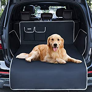 QUEES SUV Cargo Liner for Dogs, Waterproof Dog Trunk Cargo Cover Mat with Bumper Flap Protector