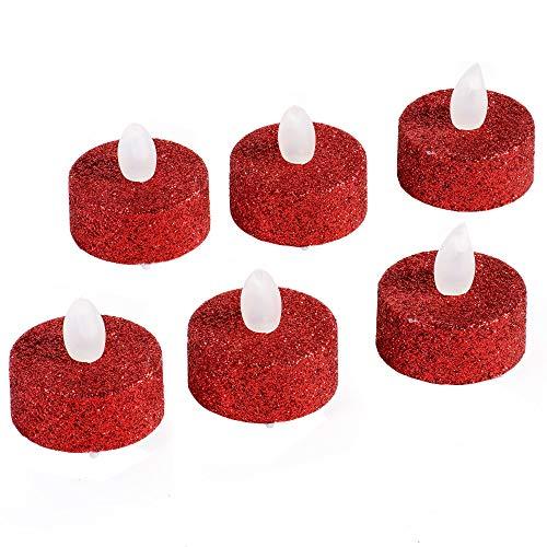 Lot de 6 Bougies Votive pailletées LED rouge