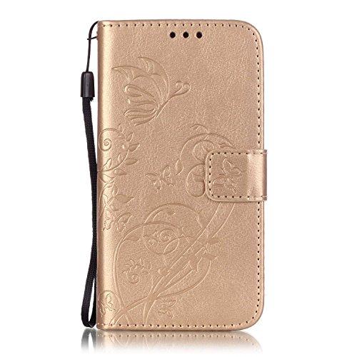 ISAKEN Custodia Samsung Galaxy S5, Galaxy S5 Flip Cover Case, Galaxy S5 Wallet Cover, Fiori Design in Pelle PU Cover Flip Portafoglio Case Cover con Supporto di Stand/Carte Slot - Flower: Gold