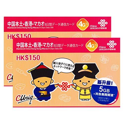 2枚セット【中国聯通香港】4G 中国SIM (本土31省と香港とマカオ) 5GB 8日利用可能