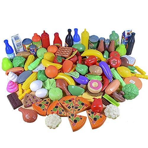 JZK Set 120 PCS Finti cibi Alimentari Cucina Giocattolo per Bambini plastica, Accessori Giocattolo Cucina, Giocattoli Frutta e Verdura, Gioco Creativo per Bambini