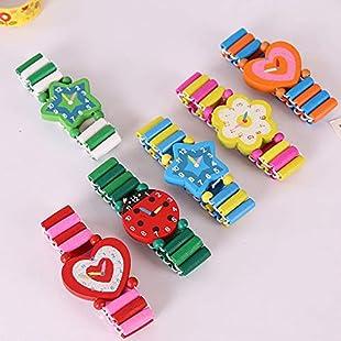 UxradG Cartoon Wooden Emulation Watch Toys, Crafts Wristwatches Bracelet Birthday Gift for Children Babys Student:Comoparardefumar