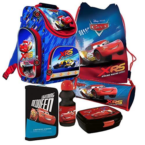 Disney Cars Schulranzen Jungen 1 Klasse Tornister Schulrucksack Schultasche SET 6 teilig für Grundschule super leicht ZTE6MRCA