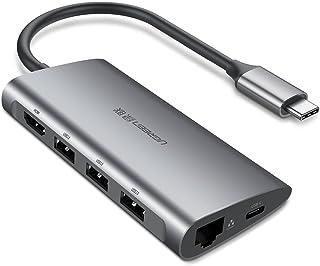 يوجرين -محول HUB يو اس بي نوع سي 8.0 مداخل متعددة الي HDMI/ مدخل إيثرنت/3.0 مداخل من يو اس بي 3.0/ قارئ البطاقات TF/SD/مين...