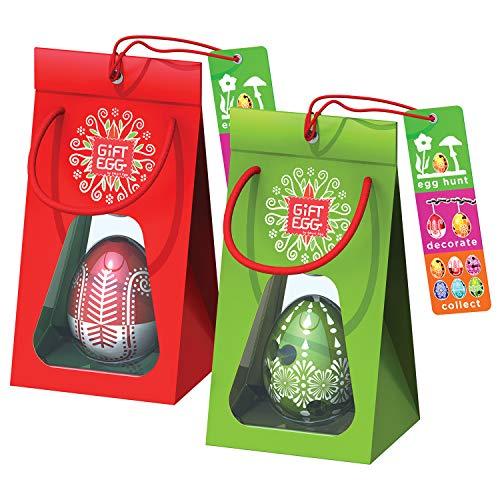 Paio di Uova di Pasqua: 2 labirinti da usarlo come giocattoli a sorpresa per la caccia all'uovo e come decorazione, in confezione regalo, pronti per essere dati come regali pasquali, Rosso-Verde