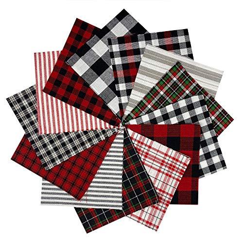 40 Buffalo Lodge Christmas Charm Pack, 5 inch Precut Cotton Homespun Fabric Squares by JCS