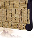 Persianas Enrollables De Bambú Persianas Romanas De Bambú Persianas Persianas De Madera - Borde Negro Ventanas Enrollables Y Persianas De Jardín Filtración De Luz (Color: A, Tamaño: 120x170CM)