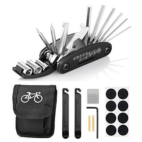 Fahrrad-Multitool, Migimi 16 in 1 Werkzeuge für Fahrrad Reparatur Set Multifunktionswerkzeug Reparatur Fahrradwerkzeug Tool, Werkzeugset Fahrrad mit Tasche, Selbstklebendes Fahrradflicken usw