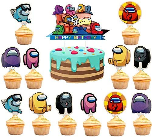 Among US Cake Toppers for Birthday Party Among US Party Supplies Among Us Party Decorations product image