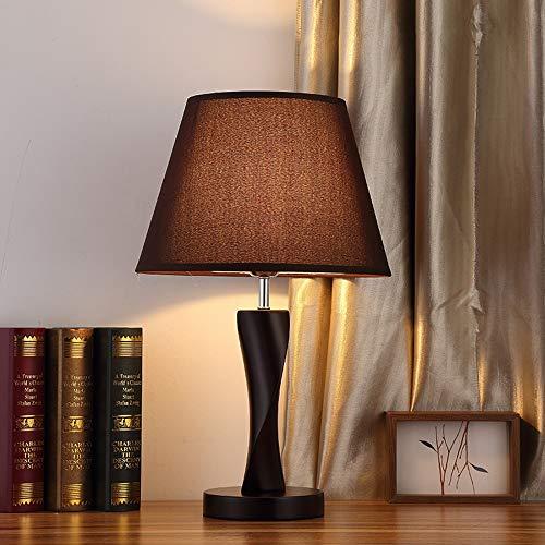 XZhstes Lámpara De Mesa LED Creativa Lámpara De Mesilla De Noche Sala De Estar De Madera Maciza Control Remoto Lámpara De Mesa De Madera con Luz Cálida Regulable (Color : Black)