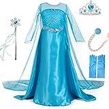 LiUiMiY Vestido De Princesa Disfraz Niña Azul para Carnaval Cumpleaños Cosplay Halloween Fiesta 2-8 años con Accesorios, Azul, 128-134 (etiqueta 130)