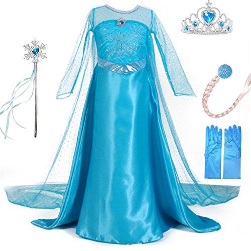 LiUiMiY Bambine Principessa Costume Abito di Gala Ragazze Vestito Gonna Set per Festivo Feste a Tema Halloween Carnevali Compleanni Blu