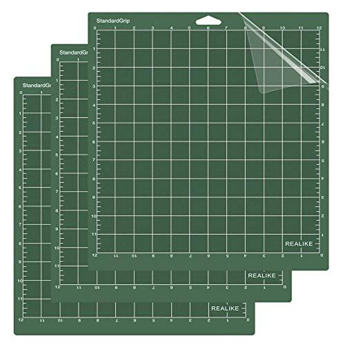 REALIKE 12x12 StandardGrip Cutting Mat for Cricut Explore One/Air/Air 2/Maker (3 Mats), Green Standard Cut Mats Replacement Accessories for Cricut