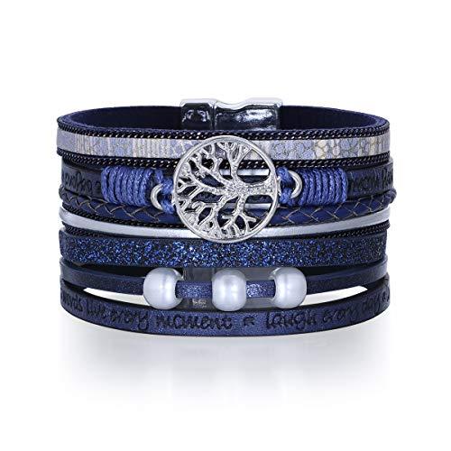 Pulsera de moda Pulsera de cuero multicapa Pulsera de mano con hebilla magnética para mujer (Azul)
