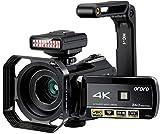 Caméra vidéo 4K ORDRO UHD Vision Nocturne Vlog Chasse aux fantômes caméra caméscope pour Youtube écran Tactile IPS 3,1' avec lumière Infrarouge, Support pour Objectif, Pare-Soleil