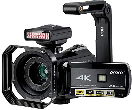 Videocámara 4K ORDRO UHD de visión Nocturna, cámara de vídeo Vlog de Caza de Fantasmas videocámara para Youtube de 3.1 Pulgadas IPS de Pantalla táctil con luz infrarroja, Soporte de Lente de Mano