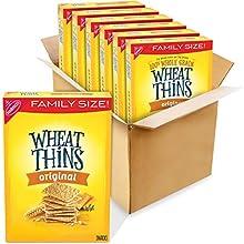 Wheat Thins Original Whole Grain Wheat Crackers, 6 - 16 oz Family Size Boxes