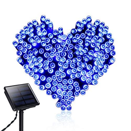 Spardar - Catena di luci a energia solare, impermeabile, con 200 luci a LED, 8 modalità di illuminazione, per esterni, giardino, feste di nozze, albero di Natale, decorazione per la casa Blu