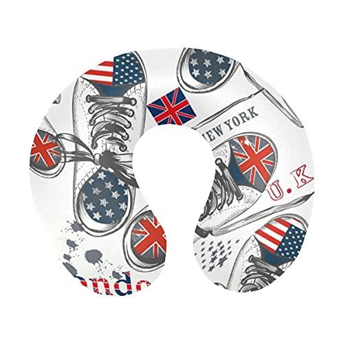 Botas deportivas de moda decoradas con banderas británicas y estadounidenses Almohada de viaje para el cuello Almohada de espuma viscoelástica para el cuello para aviones domésticos y coche Soporte su