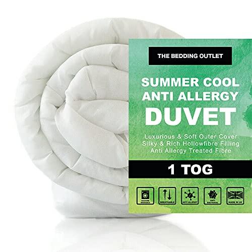 The Bedding Outlet Spring Summer Cool Anti Allergy Ultra Lightweight 1 Tog Duvet