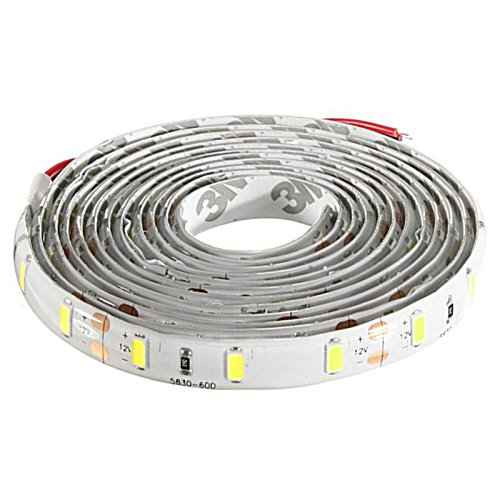 120-5630 SMD LED Strip - SODIAL(R)2M Ruban LED etanche 120-5630 SMD Bande Strip Guirlande Lumineux Decoration Voiture/Velo DC 12V (Blanc)