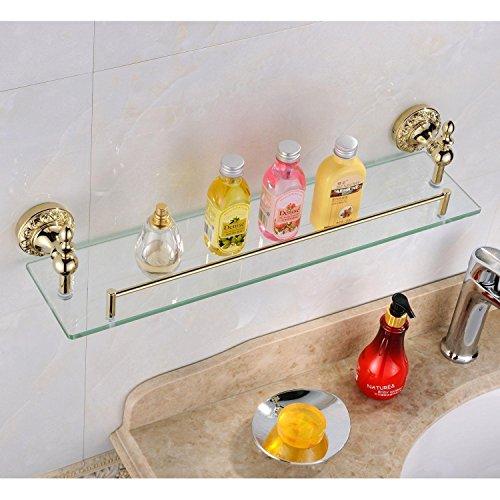 Weare Home Badezimmer Regal Badzubehör Modern Ti-PVD Finish Messing Antik Material Duschkorb Glasablage Glasregal Wandmontage