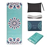 """SNΛKUGΛ Travel Yoga Mat Foldable, 1/16 Inch Thin Non Slip Yoga Mat Lightweight, Carrying Bag, Eco Friendly Natural Rubber & Suede, Portable Fitness & Exercise Mat 72""""L x 26""""W x 1.5mm, Teal Mandala"""