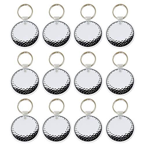 "Tom David Lewis Golf Ball Keychain - Souvenir Key Chain - Sport Key Chains - Key Rings with 2"" Round, Flat, Sturdy Vinyl Fob - Lot of 12 Clip Sport Ball Keychains"