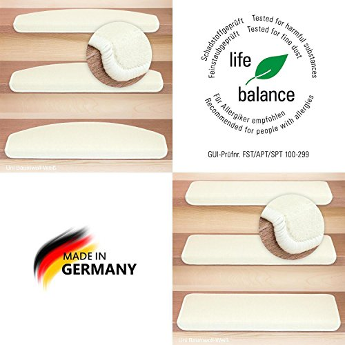 Kettelservice-Metzker® Stufenmatten Vorwerk Uni Einzeln und Sparset's Baumwollweiss 30 Stück Halbrund