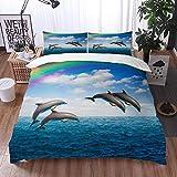 Bedding Juego de Funda de Edredón -Blue Hawaii Pack Delfines saltando Hermoso paisaje marino Arcoíris Animales profundos Fauna /Microfibra Funda de Nórdico (Cama 135 x 200 cm + Almohada 50X80 cm)