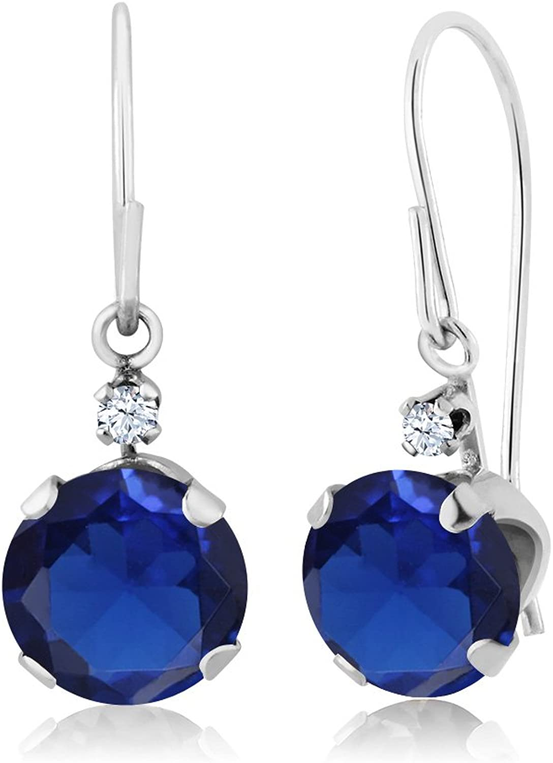 2.03 Ct Round bluee Simulated Sapphire 14K White gold Earrings